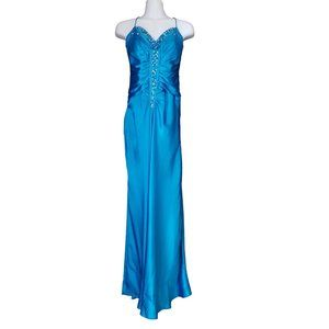 Long Turquoise Prom Dress, Beaded Front, Train